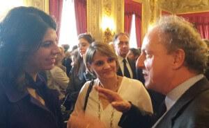 Pier Paolo Pandolfi con Geppy Cucciari, testimonial Airc al buffet del Quirinale per giornata Airc 29 ottobre 2015